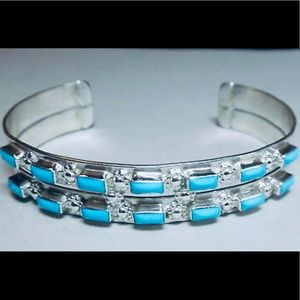 Zuni Signed Turquoise Double Band Silver Bracelet